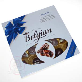 """Belgian Конфеты шоколадные """"Дары моря"""" синий бант"""