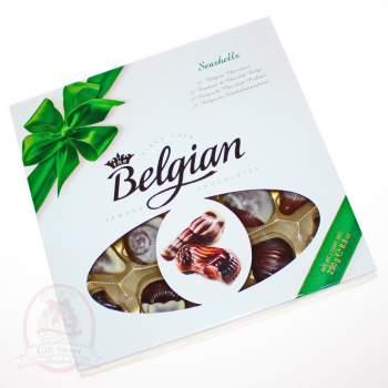"""Belgian Конфеты шоколадные """"Дары моря"""" зеленый бант"""
