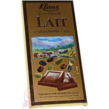 Klaus шоколад молочный с кардамоном и кофе