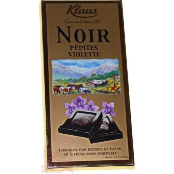Klaus шоколад горький с кусочками фиалки