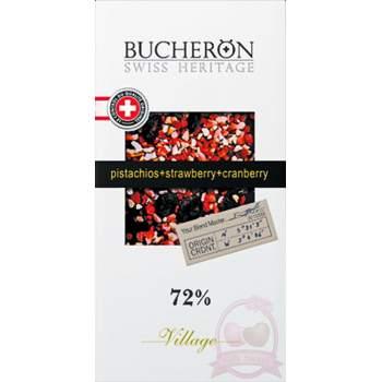 Bucheron Шоколад горький с клюквой, фисташкой и клубникой