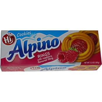 Alpino печенье кольца с малиновой начинкой
