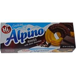 Alpino печенье кольца в темной шоколаде 150г