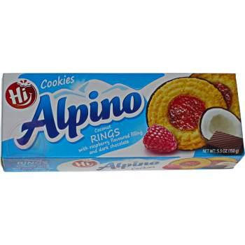 Alpino печенье кокосовые кольца в темном шоколаде