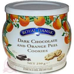 Royal Dansk печенье датское песочное с темным шоколадом и апельсиновыми цукатами 250г