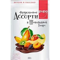 Pupo фруктовый десерт фрукты ассорти в шоколадной глазури 300г